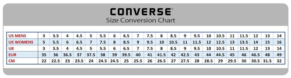размерный ряд кед Кеды Converse для NL